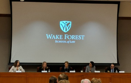 Professor Lauryn Gouldin (second from left) presents on pretrial reform and risk assessment on Jan. 31, 2020, at the Wake Forest Law Review Symposium on Bail Reform.
