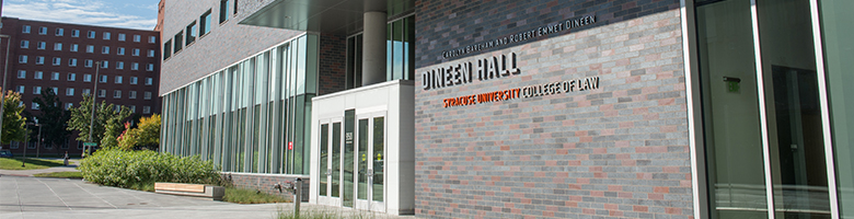The front entrance to Dineen Hall, the home of Syracuse University's College of Law