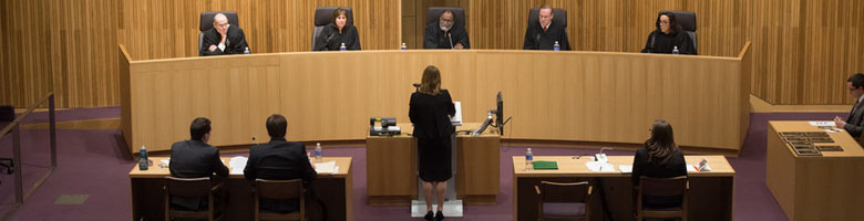 a student presents an argument before a panel of judges