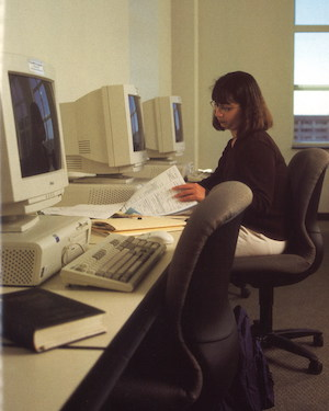 A student in MacNaughton Hall, 1998.