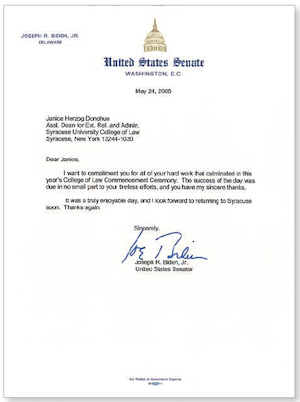 A thank you from President Biden to then Assistant Dean for External Relations and Administration Janice Herzog Donohue after the 2006 Syracuse Law Commencement at which Biden spoke.