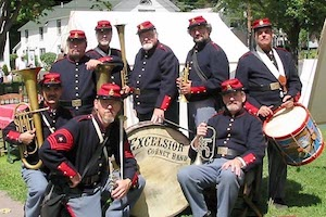 Professor David Driesen (back row, second from right) poses with the Excelsior Cornet Band.