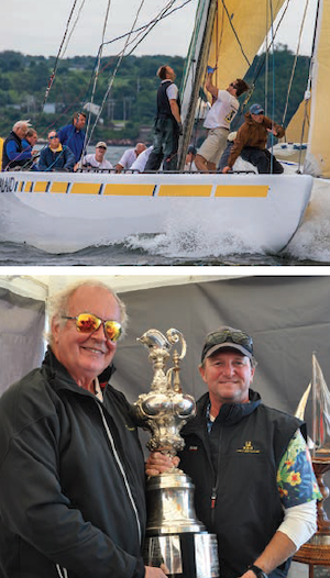 Top, Buerman competes in sailing events from his home in Newport, RI. Bottom, Buerman, on the left, is presented with a trophy after a race.