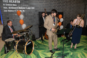 Mike Tyszko L'15 (drummer) and Joseph Frateschi L'14 (sax) play at the 2019 Law Alumni Weekend.