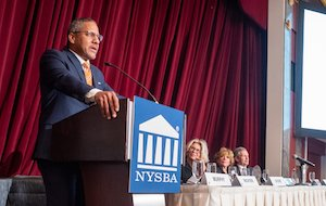 Dean Boise speaks at the 2020 NYSBA Annual Meeting.