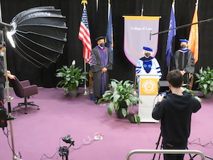 (L to R) Dean Boise, Professor Laura Lape, and Vice Dean Keith Bybee at the filming of the special 2021 Commencement ceremony.