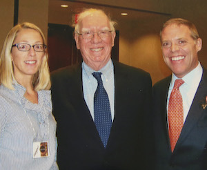 (L to R) Margaret Barclay, Ambassador H. Douglas Barclay L'61 (1932-2021), and Assembly Minority Leader Will Barclay L'95.