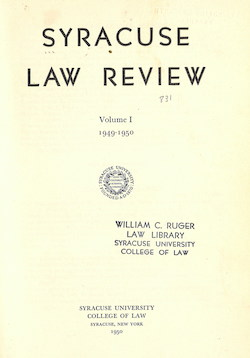Syracuse Law Review, vol. 1, no. 1