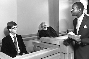 1967 Moot Court with Professor Travis H.D. Lewin (center).