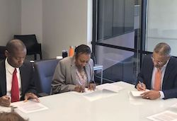 Signing the historic 3+3 admissions agreement with Atlanta-based HBCUs, April 2018.