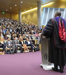 Dean Boise addresses the 2019 College of Law Convocation.