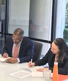 Dean Craig M. Boise signs a the 3+3 admissions agreements with three Historically Black Colleges and Universities.