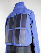 Pvilion's flexible solar panels can be integrated into clothing, as shown with this prototype jacket.