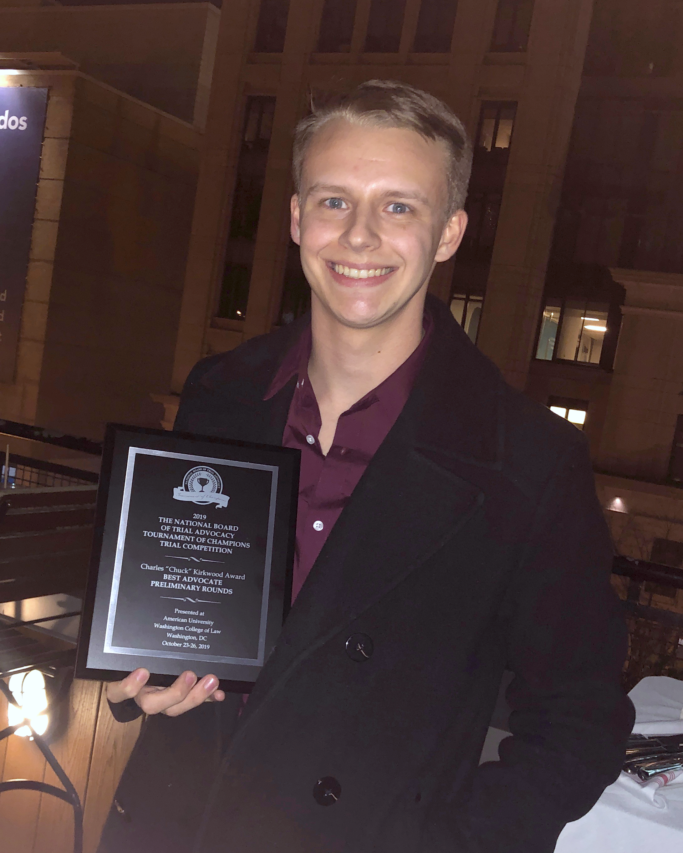 Adam Leydig received the Best Overall Advocate award in the preliminary rounds.