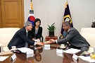 Justice Ko Young-Han, Supreme Court of Korea and Minister of the National Court Administration with Dean Craig Boise