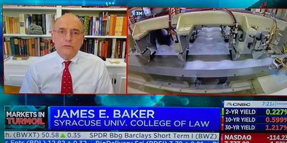 Hon. James E. Baker on CNBC, April 4, 2020.