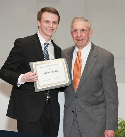 Lee Michaels L'67 (right) with 3L Adam Leydig, the recipient of the 2019 Advocate of the Year award.