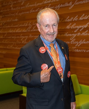 Representing the Class of 1969, The Hon. J. Jeremiah Mahoney, traveled from Washington, DC, where he is Chief United States Administrative Law Judge at the US Department of Housing and Urban Development. He celebrated his 50th with enormous pride, given the number of class buttons he is wearing!