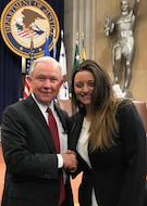 US Attorney General Jeff Sessions and 3L Kristina Cervi
