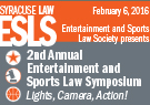 Entertainment and Sports Law Symposium Poster.