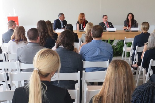 """LAW 2019 kicked off with a standing-room-only event: An Afternoon with the Corporate Law Society. The first of two panels, """"Inside the Minds of Inside Counsel,"""" featured Scott Boylan L'85 of StoneTurn, Beth McKee L'04 of StaticControl Components, and Jennifer Townsend L'11 of The Aristo Company. The second panel, """"Practicing Corporate Law,"""" was moderated by Faculty Fellow Danielle Stokes and featured Peter Alfano L'94 of Winston & Strawn; Eileen Millett L'74 of Phillips Nizer; Paul Sharlow L'03 of Sharlow Law Firm; and Linda Romano and Kate Chmieloweic L'16 of Bond, Schoeneck & King."""