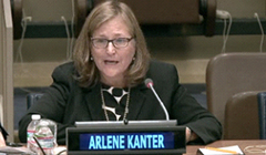 Pictured: Professor Kanter addressing the United Nations on World Autism Day