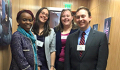 Pictured from Left to Right: Syracuse Students: Milanoi Koiyiet (COL, LLM), Michelle Damiani (SOE, PhD), Kathryn Wisner, COL/SOE) and Daniel Van Sant, COL/SOE